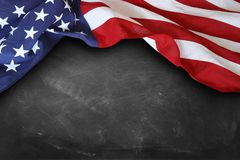 Flag on blackboard. American flag on a blackboard Stock Photography