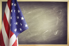 Flag and blackboard Royalty Free Stock Image
