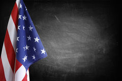 Flag on blackboard. American flag in front of blackboard Royalty Free Stock Photos