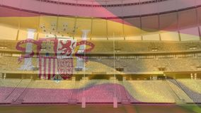 Flag blowing in front of a stadium vector illustration