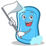 With flag blue soap character cartoon Royalty Free Stock Photo