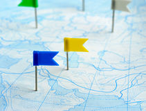 Flag blue and yellow a pin on map Royalty Free Stock Image