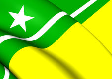 Flag of Boa Vista City Roraima, Brazil. 3D Flag of Boa Vista City Roraima, Brazil. Close Up Royalty Free Stock Photos