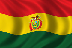Flag of Bolivia. Waving in the wind Royalty Free Stock Photography