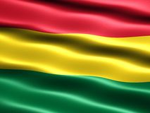 Flag of Bolivia. Computer generated illustration with silky appearance and waves royalty free illustration