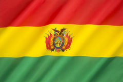 Flag of Bolivia. The red stands for the countries brave soldiers, while the green symbolizes fertility and yellow the mineral deposits of Bolivia royalty free stock photos