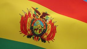 Flag of Bolivia - South America. The national flag of Bolivia was originally adopted in 1851. The red stands for Bolivia's brave soldiers, while the green stock video footage