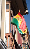 Flag of Bolivia at the window in La Paz Royalty Free Stock Photo