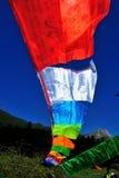 Flag. Bone Ma lake Tibetan wind horse flag hung up Royalty Free Stock Photos