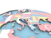 Flag of Bosnia on bright globe. Bosnia on political globe with embedded flags. 3D illustration Royalty Free Stock Photography