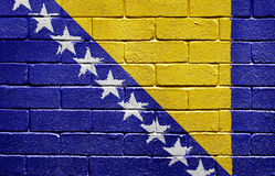 Flag of Bosnia and Herzegovina on brick wall Royalty Free Stock Image
