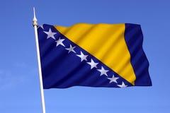 Flag of Bosnia and Herzegovina - Europe. Flag of Bosnia and Herzegovina. The three points of the triangle stand for the three peoples of Bosnia and Herzegovina royalty free stock images