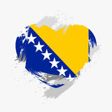 Flag of Bosnia and Herzegovina. On grunge heart. Vector illustration Vector Illustration
