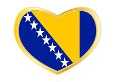 Flag of Bosnia and Herzegovina in heart shape gold. Bosnian and Herzegovinian national official flag. Patriotic symbol, banner, element. Correct colors. Flag of Stock Image