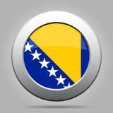 Flag of Bosnia and Herzegovina, metal round button Stock Photos