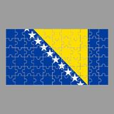 Flag of Bosnia and Herzegovina of the puzzle on a gray background. vector illustration