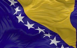 Flag of the Bosnia and Herzegovina waving in the wind 3d render Stock Image