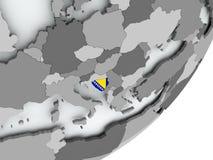 Flag of Bosnia on map Stock Photos
