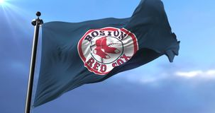 Flag of the Boston Red Sox, american professional baseball team, waving - loop. Flag of the team of the Boston Red Sox, american professional baseball team stock video