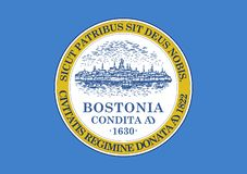 Flag of Boston. Vector format ai available blue light yellow stock illustration