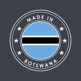 Flag of Botswana. Round Label with Country Name for Unique National Goods. Vector. Isolated vector illustration