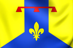 Flag of Bouches-du-Rhone Department, France. 3D Flag of Bouches-du-Rhone Department, France. Close Up Royalty Free Stock Image