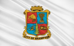 Flag of Brampton Ontario, Canada. Flag of Brampton is a city in Southern Ontario, Canada. It is a suburban city in the Greater Toronto Area GTA and the seat of royalty free stock images