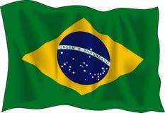 Flag of Brasil. Waving flag of Brazil isolated on white