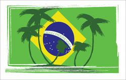 Flag of Brasil design with hand drawn palm trees. Digital vector image vector illustration