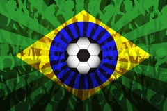 Flag of Brasil over Supporting fans. Flag of Brasil with Crowd cheering awaiting the world cup royalty free illustration