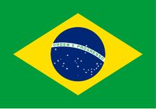Flag of Brasil. Vector format ai aviable green yellow blue star white royalty free illustration