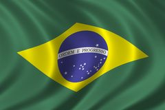 Flag of Brazil. Waving in the wind Royalty Free Stock Image