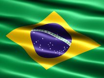 Flag of Brazil. Computer generated illustration with silky appearance and waves Royalty Free Stock Photos