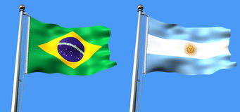 Flag of brazil and argentine Royalty Free Stock Images