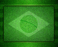 Flag of Brazil as a painting on grass Stock Image