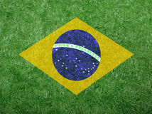 Flag of Brazil as a painting on green grass Stock Photography