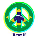 Flag of Brazil as a sign of pacifism stock illustration