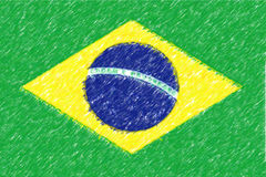 Flag of Brazil  background o texture, color pencil effect. Royalty Free Stock Images