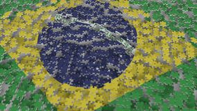 Flag of Brazil being made with jigsaw puzzle pieces. Brazilian problem solution conceptual 3D rendering. Flag made of puzzle pieces, conceptual 3D stock illustration