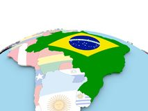 Flag of Brazil on bright globe. Brazil on political globe with embedded flags. 3D illustration Stock Photography