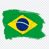 Flag Brazil from brush strokes and Blank map Brazil. High quality map of Brazil and flag on transparent background. Stock vector. Vector illustration EPS10 royalty free illustration