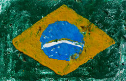 Flag of Brazil on concrete wall Royalty Free Stock Images
