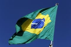 Flag of Brazil fluttering in the wind Royalty Free Stock Images