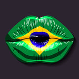 Flag of Brazil. Foreign language tongue open mouth flag of Brazil vector illustration