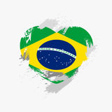 Flag of Brazil. On grunge heart. Vector illustration Royalty Free Illustration