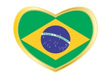 Flag of Brazil in heart shape, golden frame. Brazilian national official flag. Patriotic symbol, banner, element, background. Correct colors. Flag of Brazil in Stock Image
