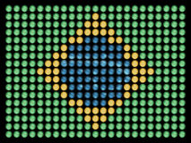 Flag of Brazil in Led Bulbs. Flag of brazil, made of led bulbs, each color taken at different short exposures, to make the detail in the lamps appear, manually Stock Photos