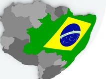 Flag of Brazil on map. Brazil on political globe with flag. 3D illustration Stock Photography