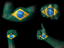 Flag of Brazil painted on body parts Stock Images