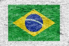 Flag of Brazil painted on white brick wall.  Stock Photos
